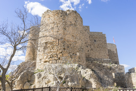 don quijote: fortress and castle of Consuegra in Toledo, Spain. medieval fortification Foto de archivo