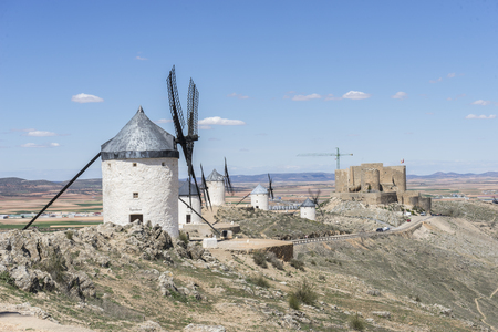 Landscape windmills of Consuegra in Toledo, Spain. They served to grind grain crop fields