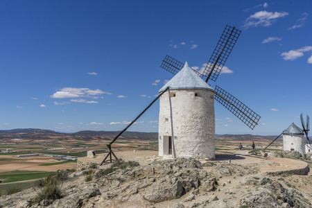windmills of Consuegra in Toledo City, were used to grind grain of wheat and barley Stock Photo