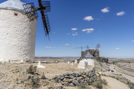 Medieval, windmills of Consuegra in Toledo City, were used to grind grain of wheat and barley Stock Photo