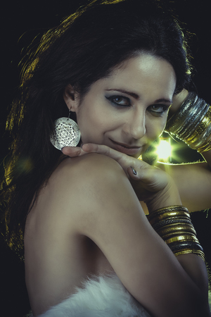 Girl with evening make-up. Jewelry and Beauty. art photo Stock Photo