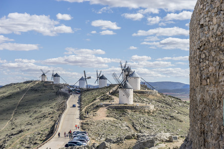 Windmill, medieval castle town of Consuegra in Toledo, Spain