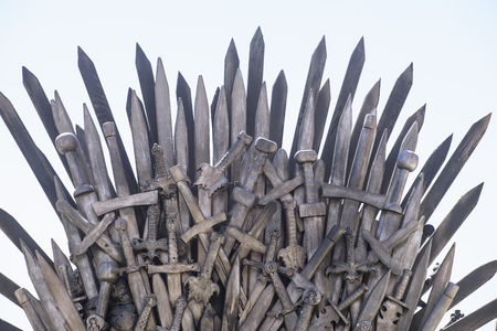 Art, royal throne made of iron swords, seat of the king, symbol of power and reign