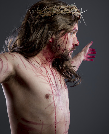nazareth: Faith, Jesus christ, jesus of nazareth with the crown of thorns and blood for his body as penance before the crucifixion