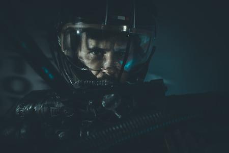 man of war: War, Space man with metal helmet and laser beam weapon