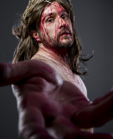 nazareth: Hands, Jesus christ, jesus of nazareth with the crown of thorns and blood for his body as penance before the crucifixion