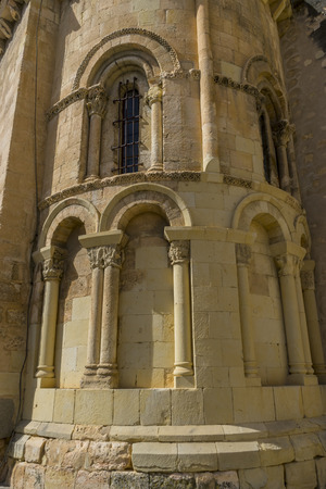 Exterior of a Romanesque style Christian church, City of Segovia, famous for its Roman aqueduct, in Spain Editorial