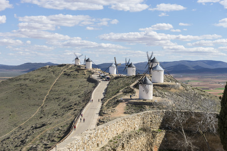 toledo town: White wind mills for grinding wheat. Town of Consuegra in the province of Toledo, Spain