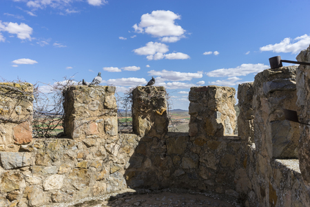 toledo town: Details of battlements of a medieval castle. Town of Consuegra in the province of Toledo, Spain
