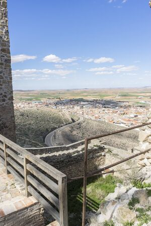 church interior: Interior of the medieval castle of the city of Consuegra in Toledo, Spain Stock Photo