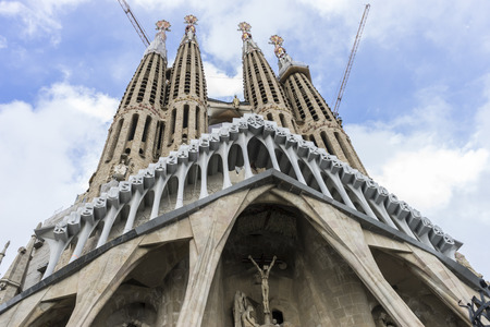 Facade Temple under construction of the Sagrada Familia, Barcelona. Designed by Antonio Gaudi. Catalonia, Spain