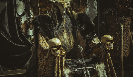 Throne of furs and skulls with a Viking sword. Chair with animal skins Standard-Bild