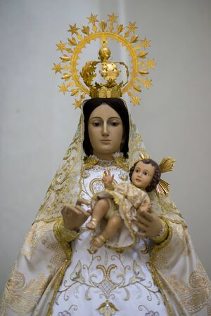 Virgin mary. Holy Week in Spain, images of virgins and representations of Christ, scenes of faith in churches and temples of worship of Christendom