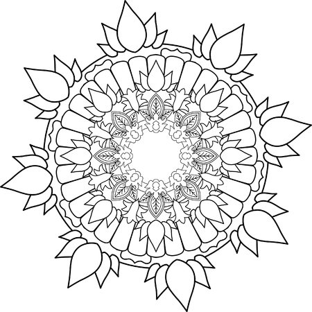 Ornament Mandala Drawing With Coloring Lines On White Background Flower Shapes And Geometries