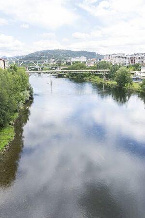 Landscape, Mi?o river passing through Orense Roman city located in Galicia. Spain