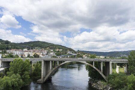 Environment, Miño river passing through Orense Roman city located in Galicia. Spain Stock Photo