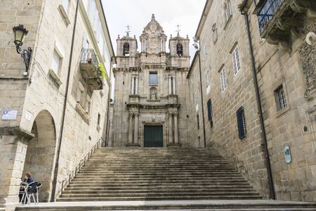 Stone staircase, old and classic buildings of the Spanish city of Orense, Galicia