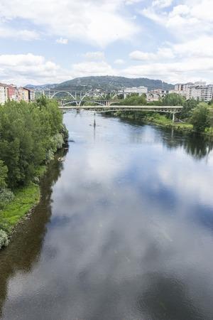 Landscape, Miño river passing through Orense Roman city located in Galicia. Spain