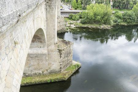 Mi?o river passing through Orense Roman city located in Galicia. Spain Stock Photo