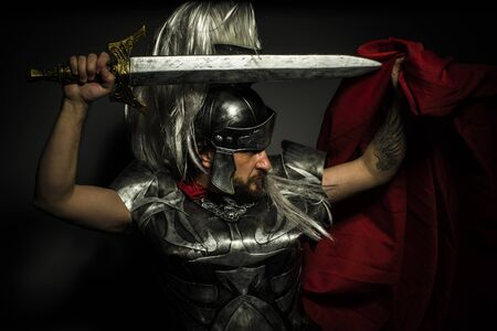 long: Gladiator, Roman centurion with armor and helmet with white chalk, steel sword and long red cape