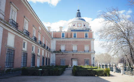 Gardens of the city of Aranjuez, located in Spain. Stone palace and beautiful autumn landscapes with beautiful fountains and mythological figures