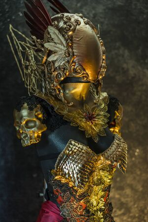 fantastic gold armor and handmade metal pieces, it has a gold dragon scaled breastplate with a helmet of gothic pieces and red feathers, it has a red skirt and metal pieces of jewelery Stock Photo