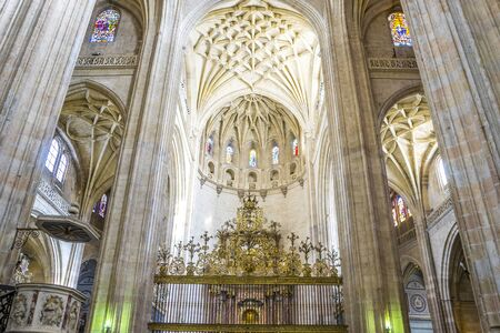 interior Gothic Cathedral of Segovia, columns and arches with large windows Editorial