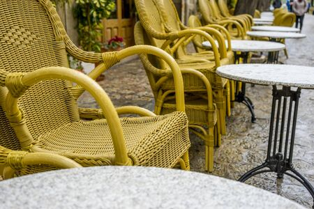 Terrace for coffee in the city of Valldemosa in the Balearic Islands Spain