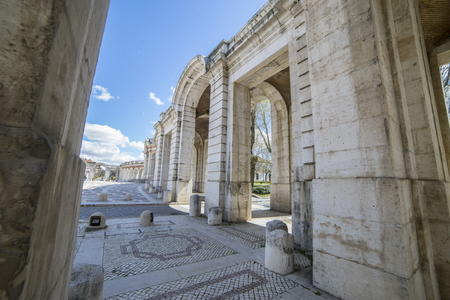 Old arcs, architecture. A sight of the palace of Aranjuez (a museum nowadays), monument of the 18th century, royal residence  Spain.