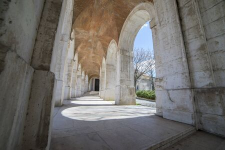 Passage Old arcs, architecture. A sight of the palace of Aranjuez (a museum nowadays), monument of the 18th century, royal residence  Spain.