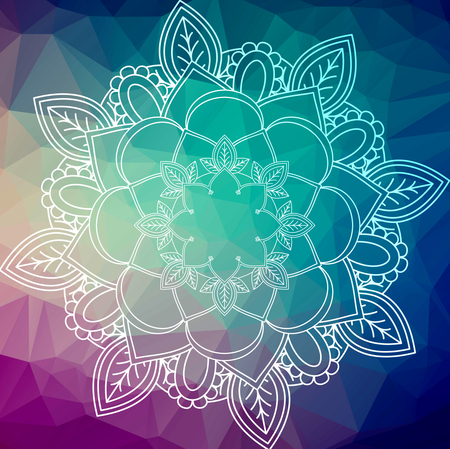 Flower Mandala. Vintage decorative elements. Oriental pattern, over low poly background. Islam, Arabic, Indian, moroccan,spain, turkish, pakistan, chinese, mystic, ottoman motifs. Colorful book page