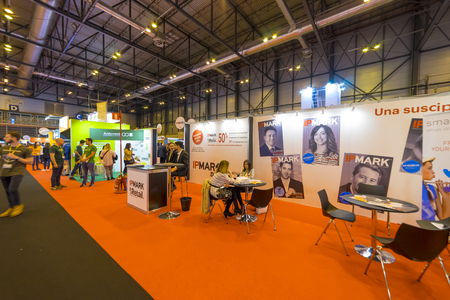 Madrid, Spain. 25 April 2018.Omexpo 2018 digital marketing fair, held in the Ifema pavilions of Madrid Éditoriale