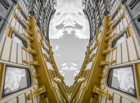 Geometric, Abstract architecture, neoclassical building with great curves over cloudy sky. change of perspective and point of view that generates a new and surprising effect