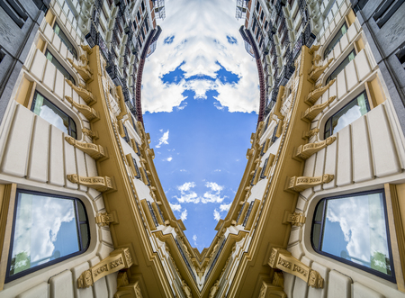 Contemporary, Abstract architecture, neoclassical building with great curves over cloudy sky. change of perspective and point of view that generates a new and surprising effect