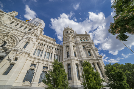 The City Hall of Madrid or the former Palace of Communications, Spain, Cibeles fountain Editorial