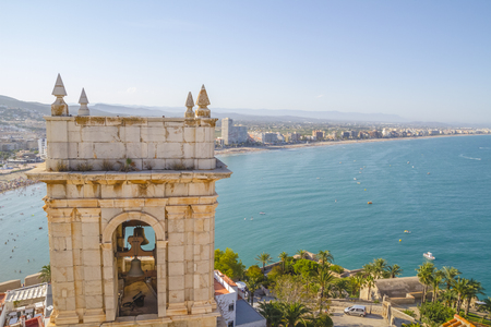 Tower, View of the Peniscola town Valencia, Spain. Tourism, spanish landscape with deep blue sea and mediterranean  architecture