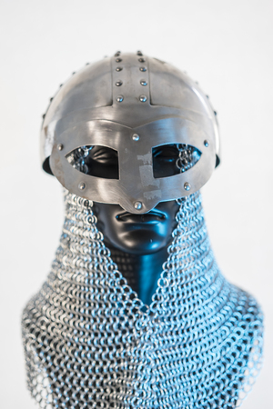 Costume, Viking helmet with chain mail in a black mannequin on white background. clothes for the viking war