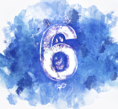 number six, Abstract Background with Watercolor banner, vector illustration