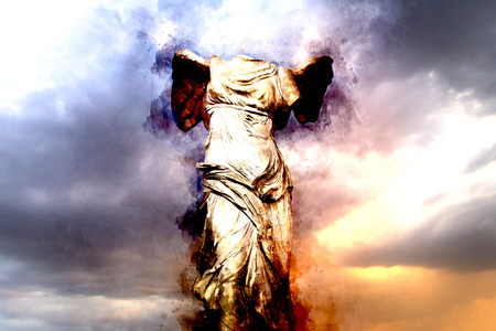 Watercolor, The Winged Victory of Samothrace. Victory of Samotracia Ancient Art Stock Photo