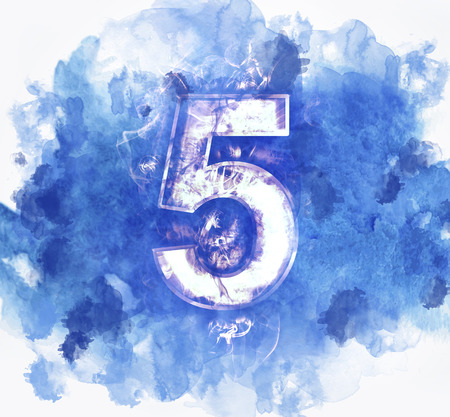 number five, Abstract Background with Watercolor banner, vector illustration