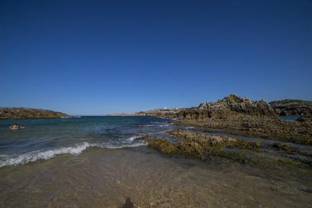 Tourism Sea, Broken coast (Costa quebrada) at Playa de San Juan de la Canal, Soto de la Marina, Spain Stock Photo