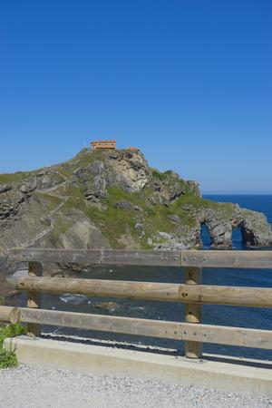 San Juan Gaztelugatxe island view, basque country, historical island with chapel in Northern Spain