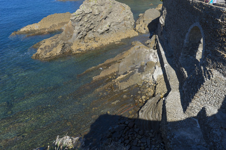 cliff with rocks, San Juan Gaztelugatxe island view, basque country, historical island with chapel in Northern Spain