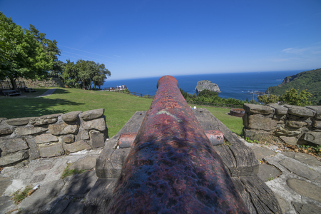 Iron Canon at Coast of the Basque Country in north of Spain