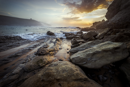 Sunset on a cliff of the Cantabrian Sea north of Spain Stock Photo