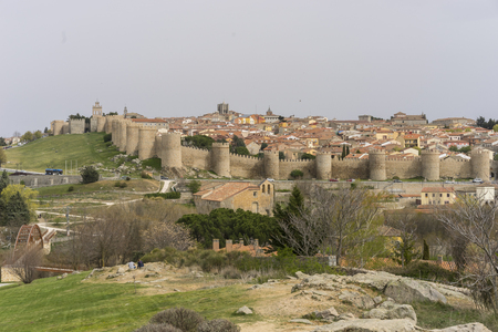 View of the medieval wall of the city of Avila, in Spain. Spanish fortress