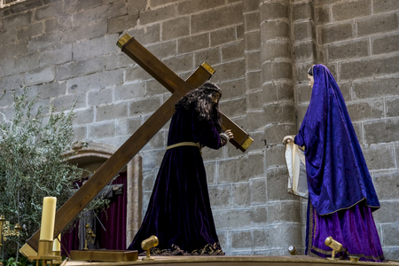 Avila, Spain - April 17, 2019. religious images of the Holy Week footsteps inside the Cathedral of Ávila, Spain