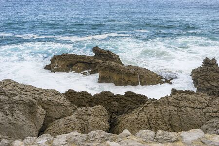raging and furious sea breaking against the rocks, Cantabrian Sea in the North of Spain Stock Photo