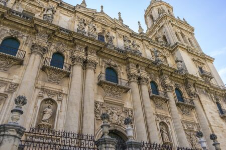 Main facade of the Cathedral of Jaen in Andalucia, Spain Фото со стока