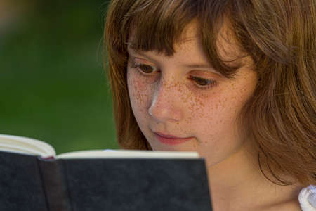 girl reading  book background.